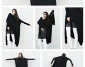 Kat Von D wears BABOOSHKA Banded Arch Caftan Midi Maxi Dress - Black on Black - Long Sleeve Minimal Oversized Tunic Katvond look #kvdlook