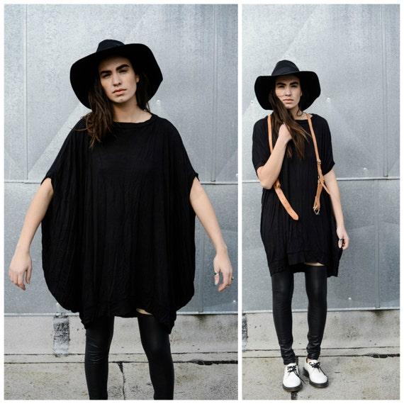Babooshka Discoid Dress - Fall Longline Goth Tunic Modern Poncho Black Witchy Tunic Shirt Asymmetric Cape T-Shirt Knit Premium Knit Jersey