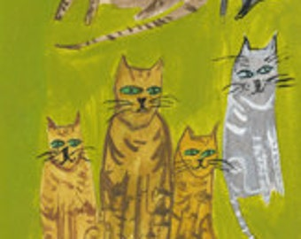 Eliot's practical cats.  Original painting by Vivienne Strauss.