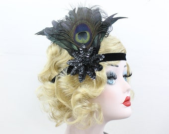 Black Peacock Headpiece, Feather Fascinator, 1920s Flapper Headpiece, Great Gatsby Headband, Black Feather Headband, Feather Hair Accessory