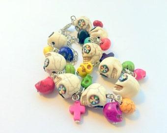Day of the Dead Sugar Skull Adjustable Chain Bracelet Black Rainbow Flowers