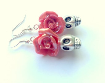 Silver and Red Day of the Dead Roses and Sugar Skull Earrings Small