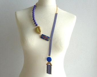 Cobalt blue necklace royal blue long statement necklace