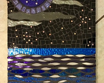 Stained Glass and Resin Mosaic Wall Hanging Blue and Purple Glitter Celestial Moon over Sea