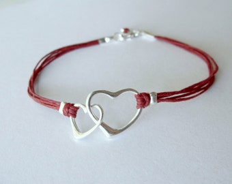 Heart Bracelet sterling love anniversary bracelet red birthday graduation friendship bracelet graduation mothers day