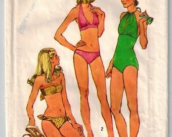 1973 Bathing Suit Swimwear Swimsuit Vintage Sewing Pattern One Piece Halter Style Bikini Two Piece Strapless Simplicity 5694 Bust 31.5