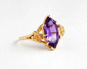 Art Nouveau Purple Sapphire Ring: 10k yellow gold, size 11, 15x7mm marquise, purple, February birthstone, lab sapphire, flower, large