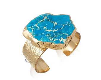 Turquoise statement bracelet | Turquoise statement cuff | Statement stone cuff | Turquoise stone cuff | Turquoise jewelry | Gold cuff