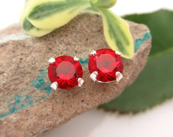 Helenite Glass Studs - Genuine Red Helenite Glass Stud Earrings in Real 14k Gold, Sterling Silver, or Platinum - 4mm, 6mm, 8mm
