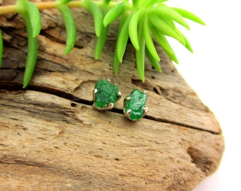 Rough Tsavorite Garnet Earrings in 14K White Gold with Genuine Gems, 5mm Fair Trade