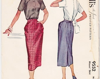 """1950's Vintage Sewing Pattern Ladies' Peg Top Pocket Skirts McCall's 9552 28"""" Waist- Free Pattern Grading E-book Included"""