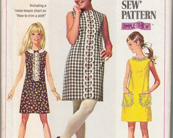 "1960's Vintage Sewing Pattern Ladies' A-Line Dress Simplicity 8011 36"" Bust - Free Pattern Grading E-book Included"