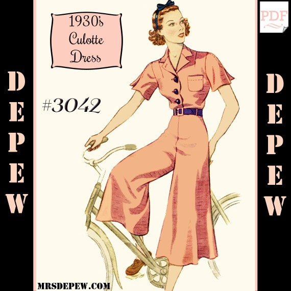 1930s Dresses, Clothing & Patterns Links Vintage Sewing Pattern Reproduction 1930s Culotte Dress Depew 3042 -INSTANT DOWNLOAD $8.50 AT vintagedancer.com