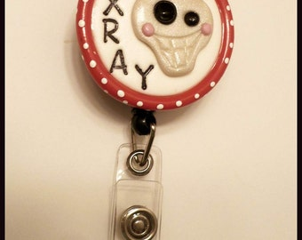 Retractable Badge Reel ID Holder Polymer Clay Xray Skull Red