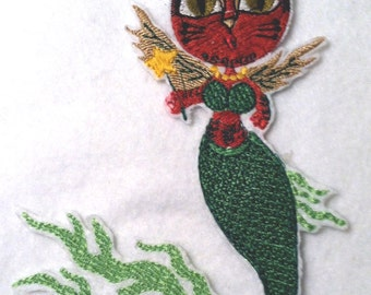 "Mermaid Kitty - Merkitty  - Hand Crafted Iron on Patch - Applique -  6.5"" x 4.5"""