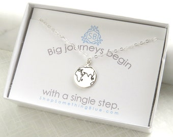 Graduation Gift World Necklace Earth Necklace Journey Necklace Globe Good Luck Bon Voyage Necklace Encouragement Gift, The Whole World