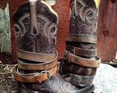OLD WEST BOHEMIAN ~ Distressed Vintage Genuine Leather Adjustable Layered Boot Belts, Medium to Dark Brown ~ Ready to Ship