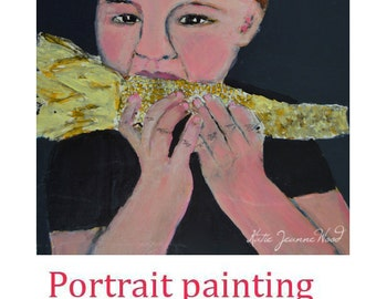 Acrylic Portrait Painting. Boy Eating Corn on the Cob Painting. Nom Nom. Summertime Outdoor Picnic Painting.
