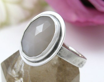 Moonstone Ring - Sterling Silver faceted Moonstone Ring - silver natural moonstone ring - oval moonstone - US size 6