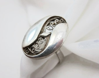 Sterling Statement Ring - Silver Filigree, Israel