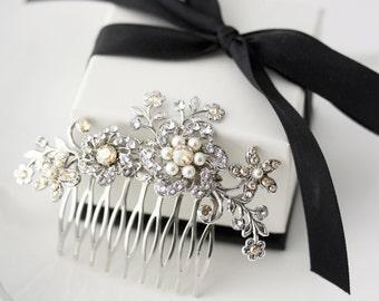 Wedding Hair Comb Flower Comb Swarovski Golden Shadow Crystal Vintage Hair Accessories Crystal Hair Comb Hair Jewelry SABINE