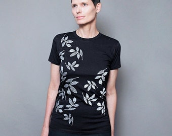 Graphic tee for Women / Abstract Leaf Screenprint on Black Fashion T Shirt  for Women, Gift for Her, Flower Floral Design