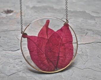 Bougainvillea Pressed Leaf Necklace, Purple Leaf Necklace, Pressed Flower Necklace, Botanical Jewelry