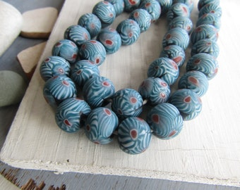 Round blue  glass beads, blue red  tone with mozaic millefiori motif, matte opaque ethnic boho  Indonesian  12-13mm (6 beads)  6bb11-2