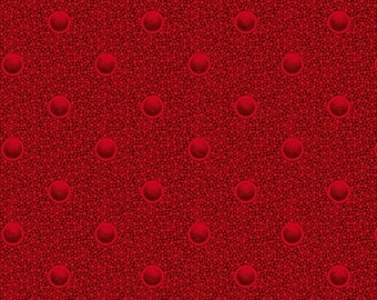 Circles Red Cozies Flannel Marcus Brothers Fabric 1 yard