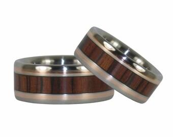 Kingwood and Gold Titanium Ring Set