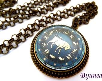 Taurus sign of zodiac necklace - Zodiac necklaces - Blue sign zodiac necklace - Taurus necklace n803