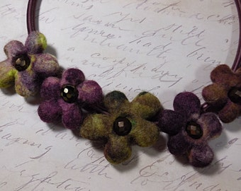 Felted Flower Necklace/ Blossom Cord Necklace