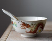 Antique Chinese Porcelain Rice Bowl and Spoon, Jiangxi, Red Dragon Bowl, 1930s, Table Wares, Baskets and Bowls