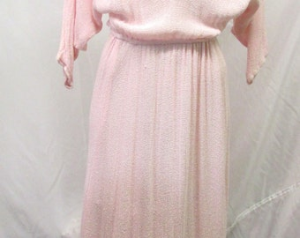 Vintage 1980's Dress Pink Fringe Open Weave Knit Tea Length Dolmen Sleeve S/M/L