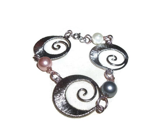 Sale Bold Statement Silver Swirl Link Tribal Bracelet 8 1/2 Inches with Multi Color Glass Pearls Silver Boho Chic Handmade Gift Idea for Her