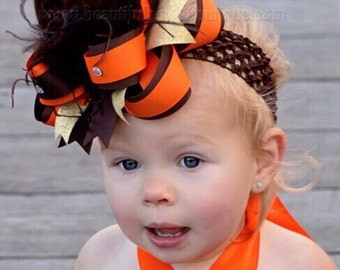 Girls Brown and Orange Big Fall Hair Bow,Over the Top Bows,Fall Baby Headbands,Fall Stacked Boutique Hair Bow,Large Feather Hair Bows Baby