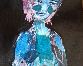 EMERY original painting 'taking a deep breath from what she learned' expressionism folk blue outsider