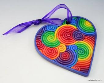 Valentine Heart Christmas Ornament in Rainbow Fimo Filigree Valentine's Day Gift