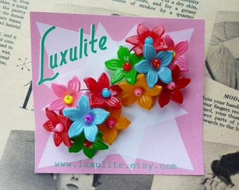 Floral Bouquet earrings - 1940's vintage inspired handmade earrings by Luxulite