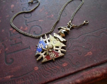 victorian knights of the pythias with enamel and gold filled skull sword knight bible motifs - antique gentlemens jewelry