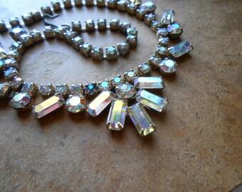 aurora borealis rhinestone bib necklace 1950s 1960s vintage costume jewelry