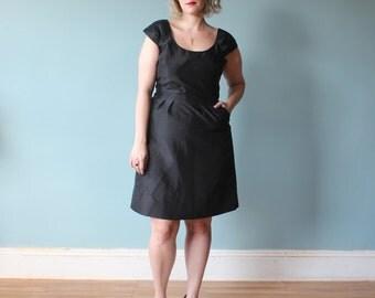 plus size dress / black plus size cocktail dress / 1990s / XL