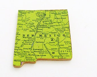 1940s New Mexico Brooch - Pin / Unique Wearable History Gift Idea / Upcycled Vintage Wood Jewelry / Timeless Gift Under 25