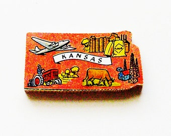 1960s Kansas Brooch - Pin / Unique Wearable History Gift Idea / Upcycled Vintage Hand Cut Wood Jewelry / Timeless Gift Under 25