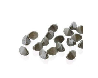 Pinch Beads Czech Glass 5mm Faceted Oval 18416 (2 Strands, 100 Beads), Pastel Lt Gray Silver 5mm Faceted Bead, Faceted Czech Bead
