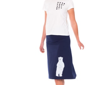 Cute Skirts for Women, Midnight Blue Cotton Skirt, Midi A-line Fold Over Knee Length Skirt, Supre cute Applique Skirt - Sweet Polar Bear