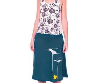 Lovely Design Skirt . Stretch Skirt . Teal Blue Jersey Skirt . A-line Plus Size Skirt . Applique Skirt -Lotus leaves and a little duck