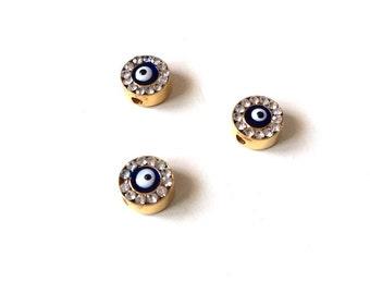 2pcs- Matte Gold Plated Dark Blue Enamaled Evil Eye Bead with Rhinestone-7x1mm (025-030GP)