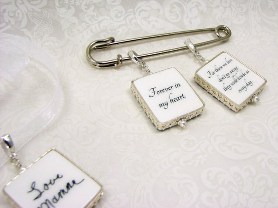 Sterling Framed Bouquet Charm and Boutonniere Pin - FBP2PSx3