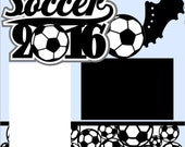 Soccer 2-page 12X12 Scrapbook Page Kit or Premade Layout - You Choose Background COLOR & YEAR